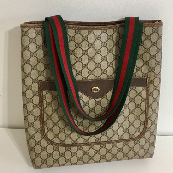13f3123693c Gucci Handbags - Authentic Gucci brown coated canvas tote
